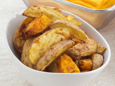 Roast pumpkin and potato with paprika