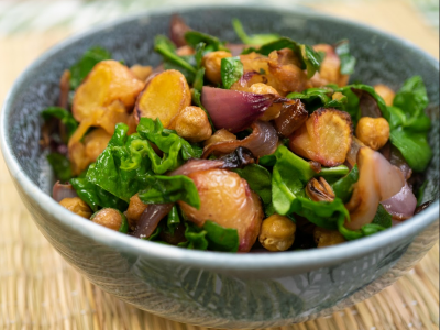 Roast yam and red onion salad