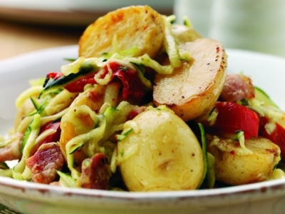 Warm potato, capsicum and bacon salad
