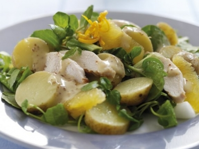 Watercress, orange and potato chicken salad