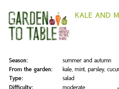 Garden to Table Downloads